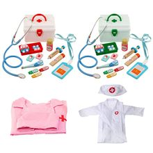 Pretend Doctor Play Wooden Toys for Children Role Playing Doctor Nurse Game Funny Gifts