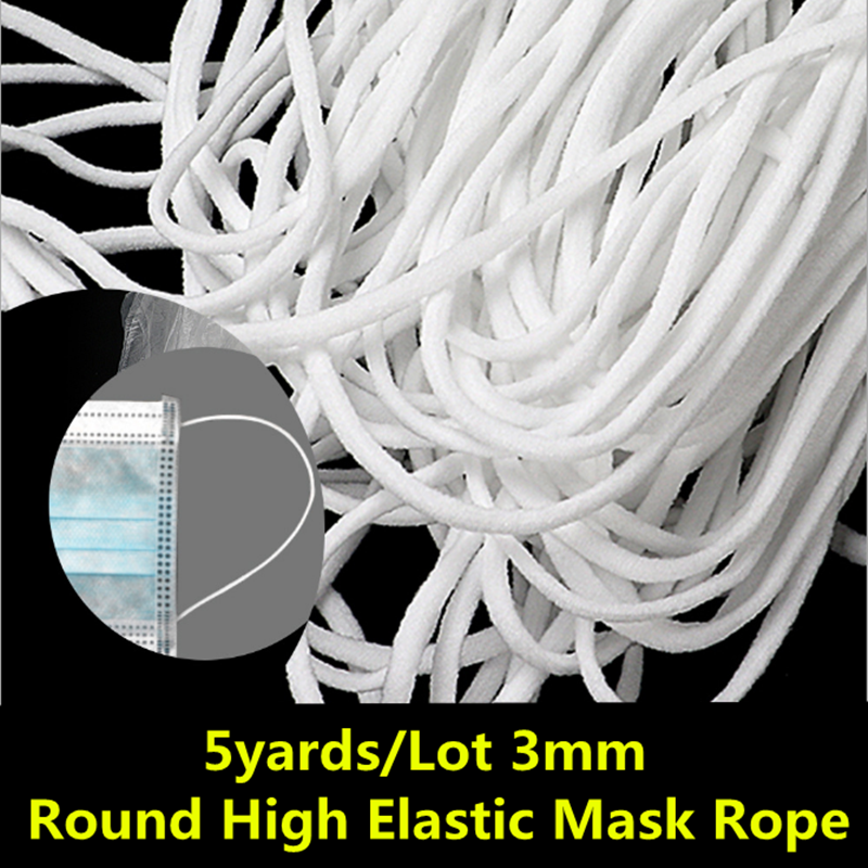 5yards/Lot 3mm/5mm High Elastic Mask Rope Sewing Elastic Band Spandex Round Elastic Oil Core Rope DIY Mask Making