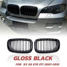 Topo!-x5 x6 grill, grade de linha dupla de rim frontal para 2007-2013-bmw x5 e70 x6 e71 (abs gloss black grill, conjunto 2-pc)