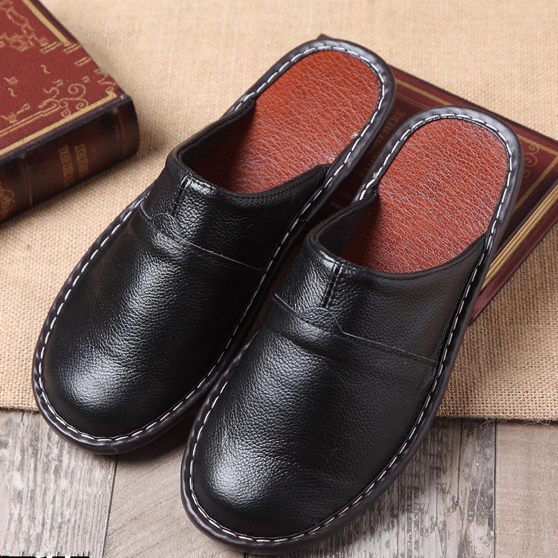 Summer Home Leather Slippers Male And Female Indoor Slippery Floor Sandles Home Shoes Fashion Casual Shoes