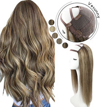 Vesunny One Piece U Part Wigs 100% Real Human Hair with Clips 12-20
