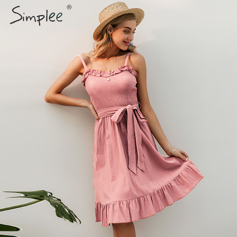 Simplee Sleeveless Ruffle Elegant Dress Women Ruched Sashes Bow Cotton Summer Midi Dresses Sexy Solid Female Pink Vestidos 2019