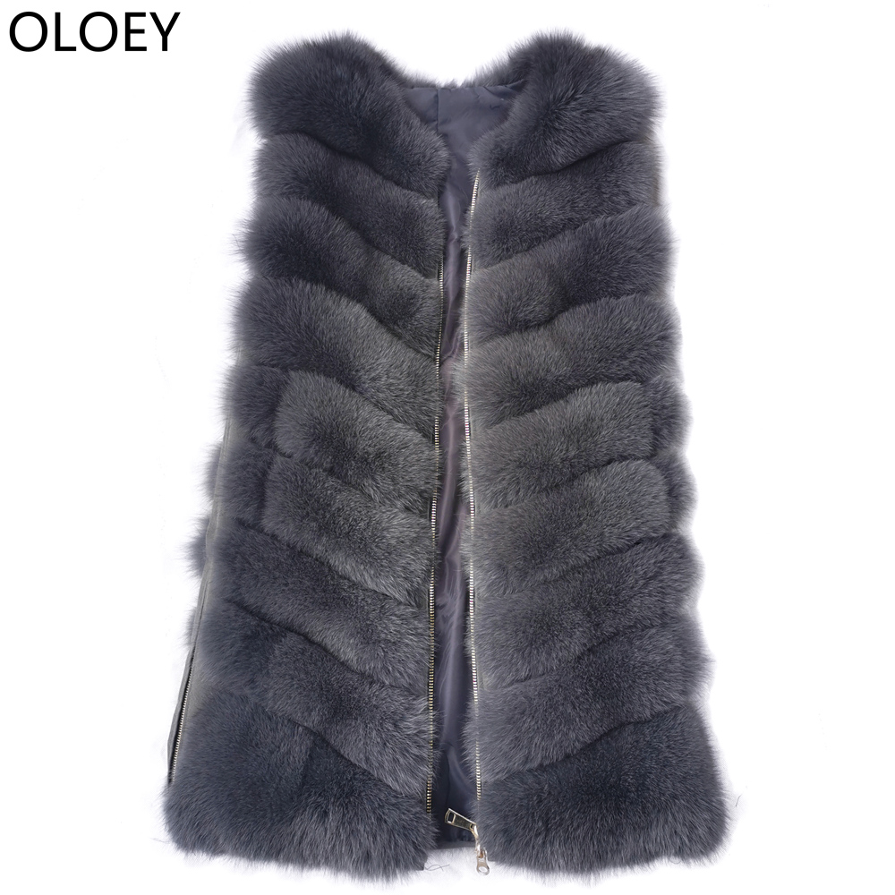 2019New  Real Fur Vest Fur Coat Fashion Fox Fur Vest Coat High Quality Real Fox Fur Jacket Women Winter Fox Fur Coat Zipper Vest
