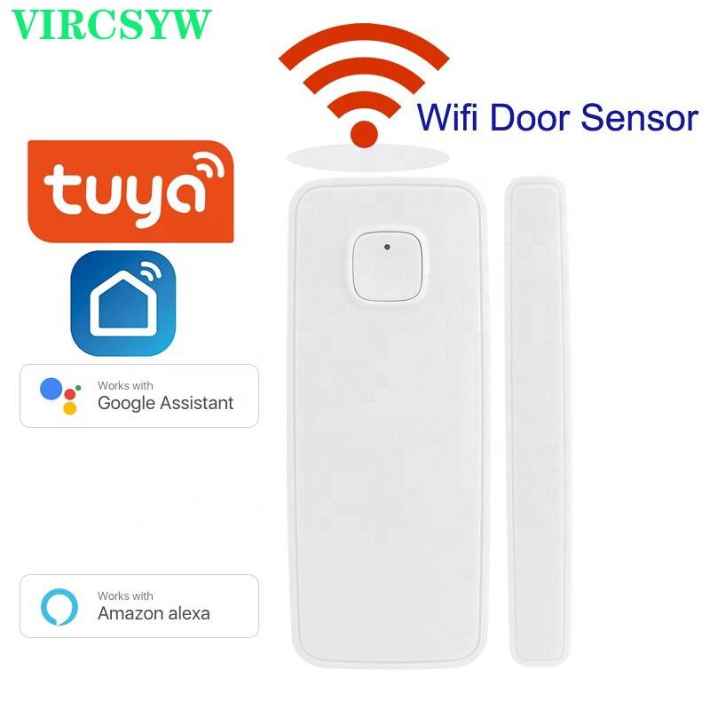 VIRCSYW Tuya Smart Wifi дверной оконный Датчик пожарный извещатель Smart life совместим с Alexa Google Home