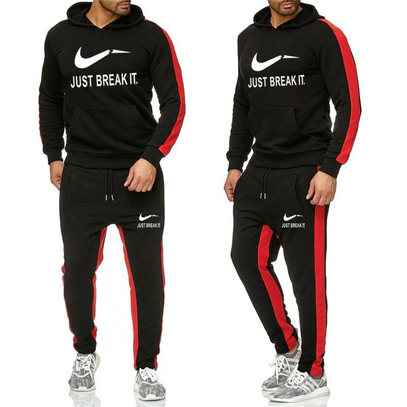 Men's Sweat Suits Set Letter Print Large Size Sweatsuit Male Sets 2019 Brand Sporting Suit Men Warm Hooded Tracksuit Track