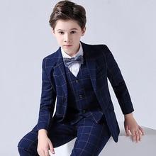 Formal Children Plaid Suit Set Flower Boy Wedding Party Performance Dress Costumes Kids Blazer Vest Pants 3pcs Clothes Set