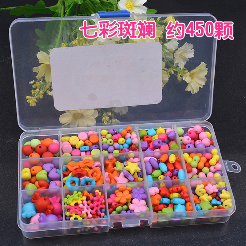15 Grid DIY Colorful Acrylic Beads Girls Toys Set Jewelry Accessories Puzzle Handmade Crafts Education Children Necklaces Toys