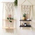Hand-Woven Macrame Hängen Pflanzer Korb Holz Regale Böhmischen Stil 1/2 Schichten Rack Wand Hängende Tapestry Home Room Decor