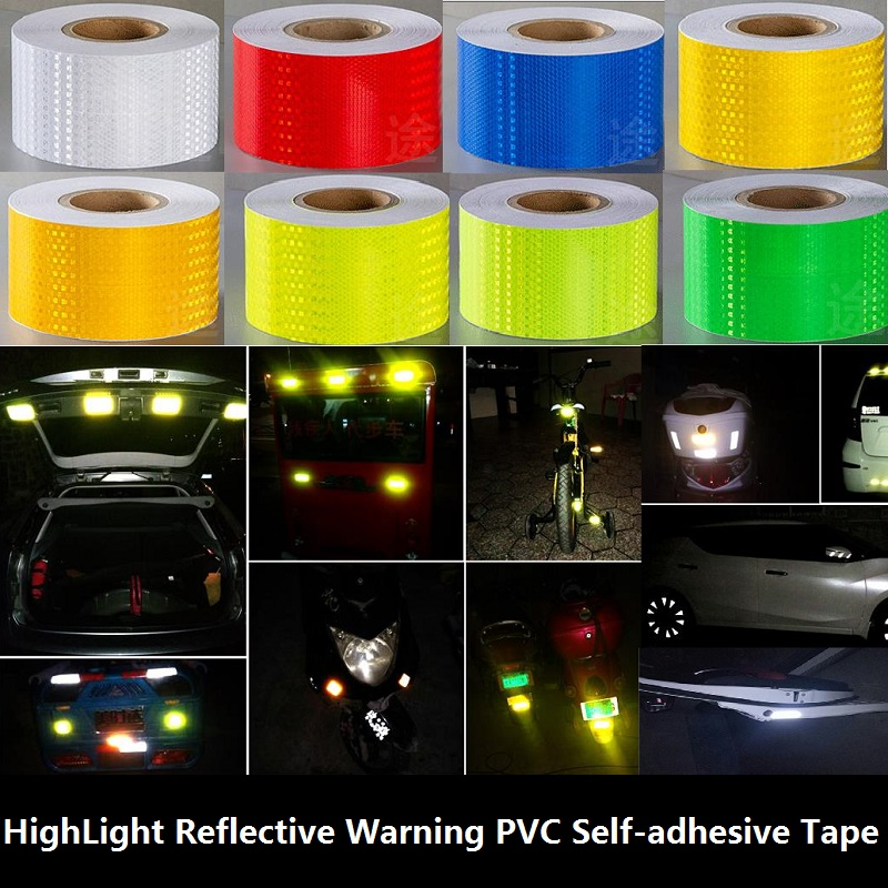 20CM Width Super Reflective Car Decoratiive Sticker PVC Reflective Self-adhesive Tape Road Traffic Warning Sign