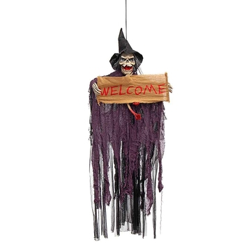 Halloween Prop Electric Voice Hanging Skull Skeleton Ghost Welcome Sign Halloween Escape Horror Props Ghost Resin Electric Skull фото