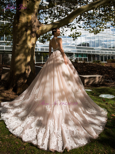 Image 5 - Julia Kui Vintage Ball Gown Wedding Dress 2020 Customized Sexy Halter Backless Court Train Princess Wedding Gowns