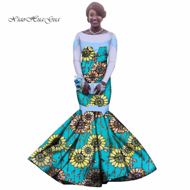 Dashiki African ชุดเดรสสำหรับสตรีชุดราตรียาวผู้หญิงแอฟริกันเสื้อผ้างานแต่งงาน Mermaid ชุดยาว PLUS ขนาด WY2839