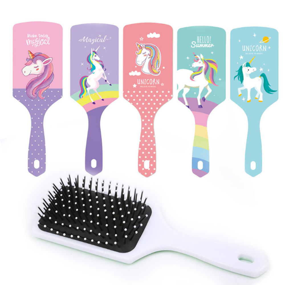 New 1pc Unicorn Cute Animal Anti-static Hair Brush Massage Comb Shower Wet Detangle Hair Brush Salon Hair Styling Tools Girls