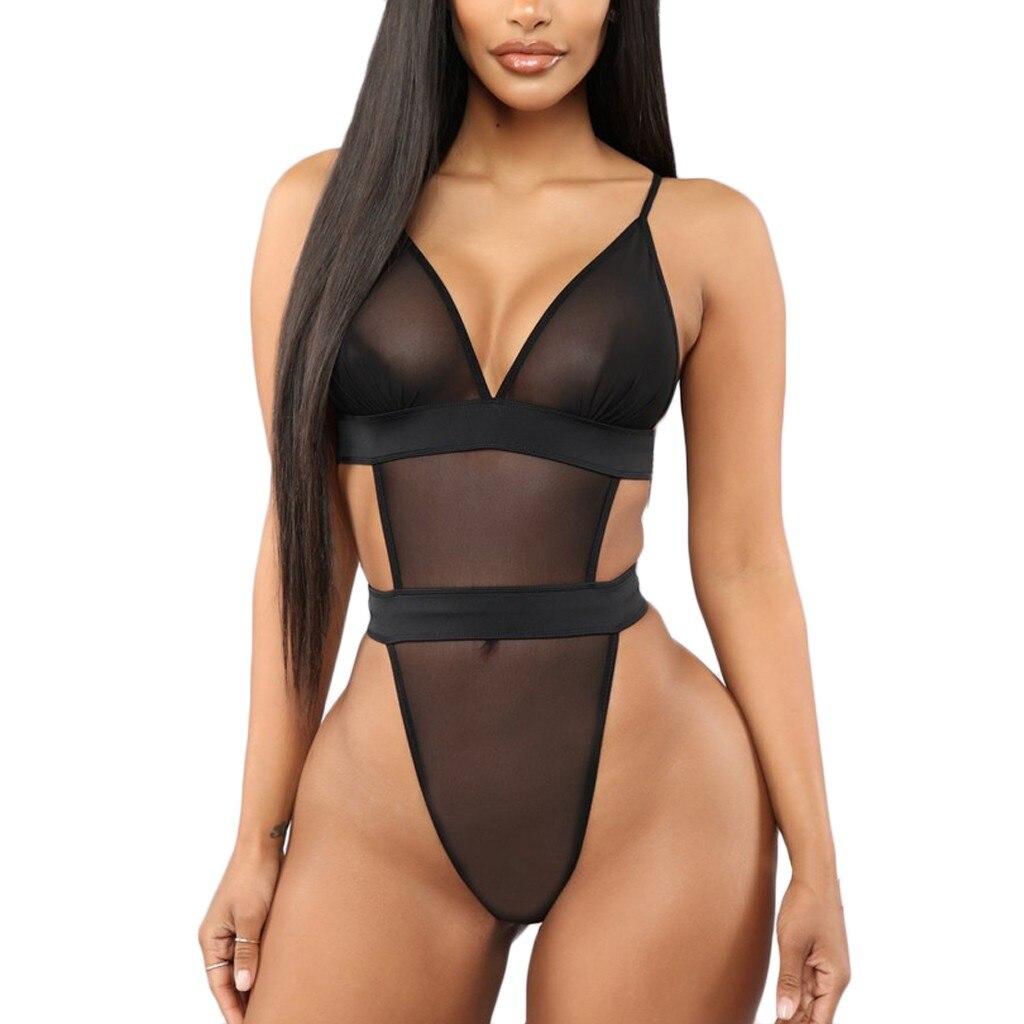 Elegant Womens Lace Bodysuit Deep-V Neck Playsuit Elastic Slim Sleeveless Backless Jumpsuit Ladies Sexy Rompers S-3XL Plus Size