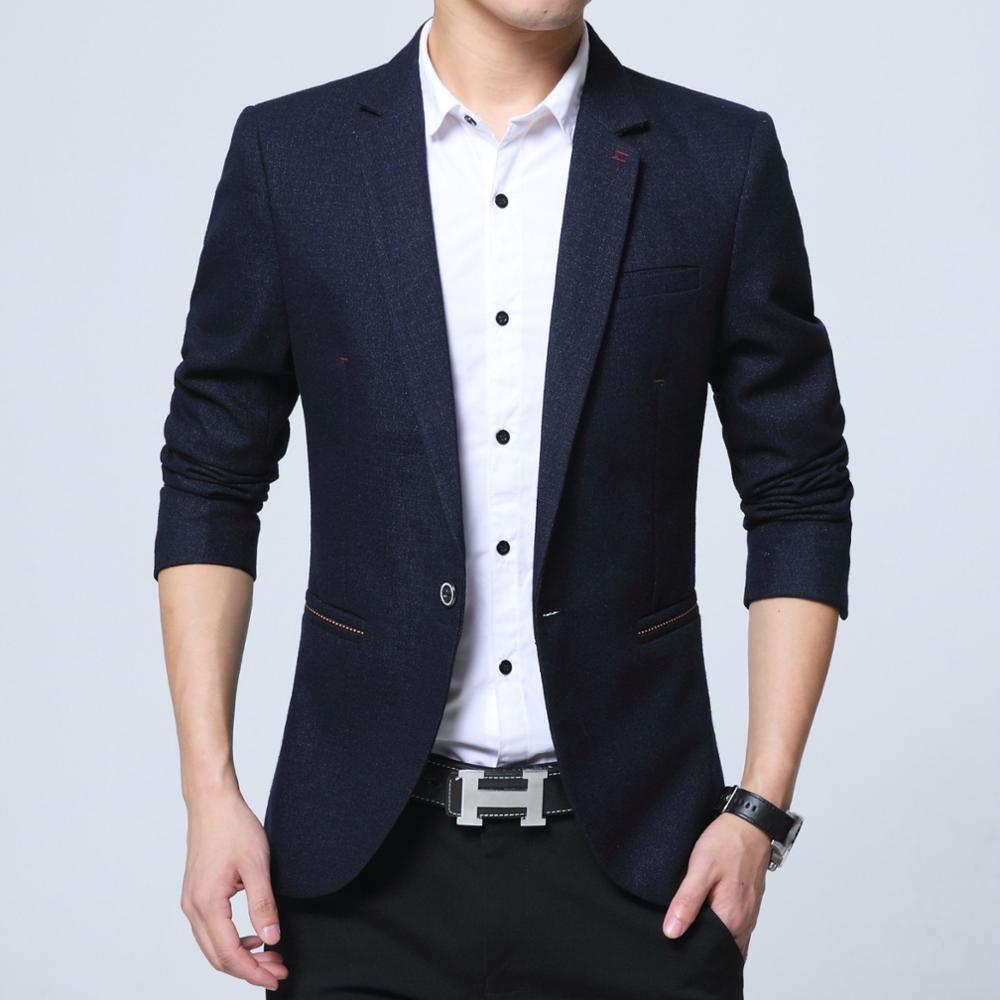 Mens casual blazer cotton mixed short coat slim fit Male clothing new 2019 3color M-6XL Drop shipping plus size 4xL 5xl 6xl