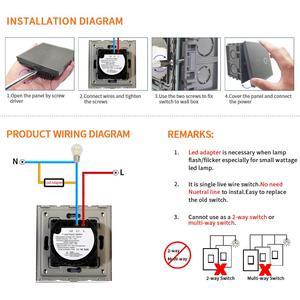 Image 5 - Bingoelec eu stadard 1/2グラム1ワット調光/ファンタッチスイッチホワイト強化ガラスパネル壁スイッチなし中性線ac 240v 700ワット