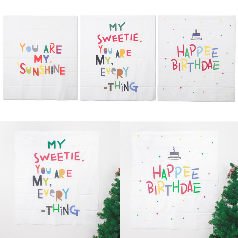 Ins Nordic Happy Birthday Tapestry Wall Hanging Decor Cloth You Are My Sunshine Background Cloth Children Baby Photography Props