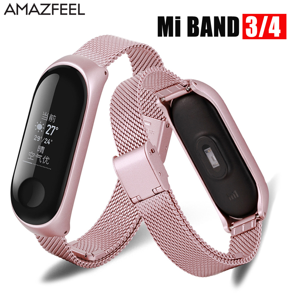 Metal Stainless Steel Bracelet Strap For Mi Band 4 Wrist Strap Smart Bracelet For Miband 3 4 Wristband Replaceable Watch Strap
