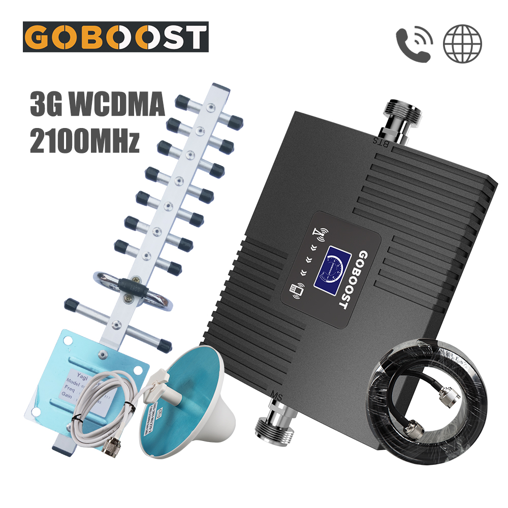 GOBOOST WCDMA 3G Signal Booster UMTS 2100 Mhz Band1 Mini LCD Display Cellular Mobile Repeater 65dB Cell Phone Amplifier Network