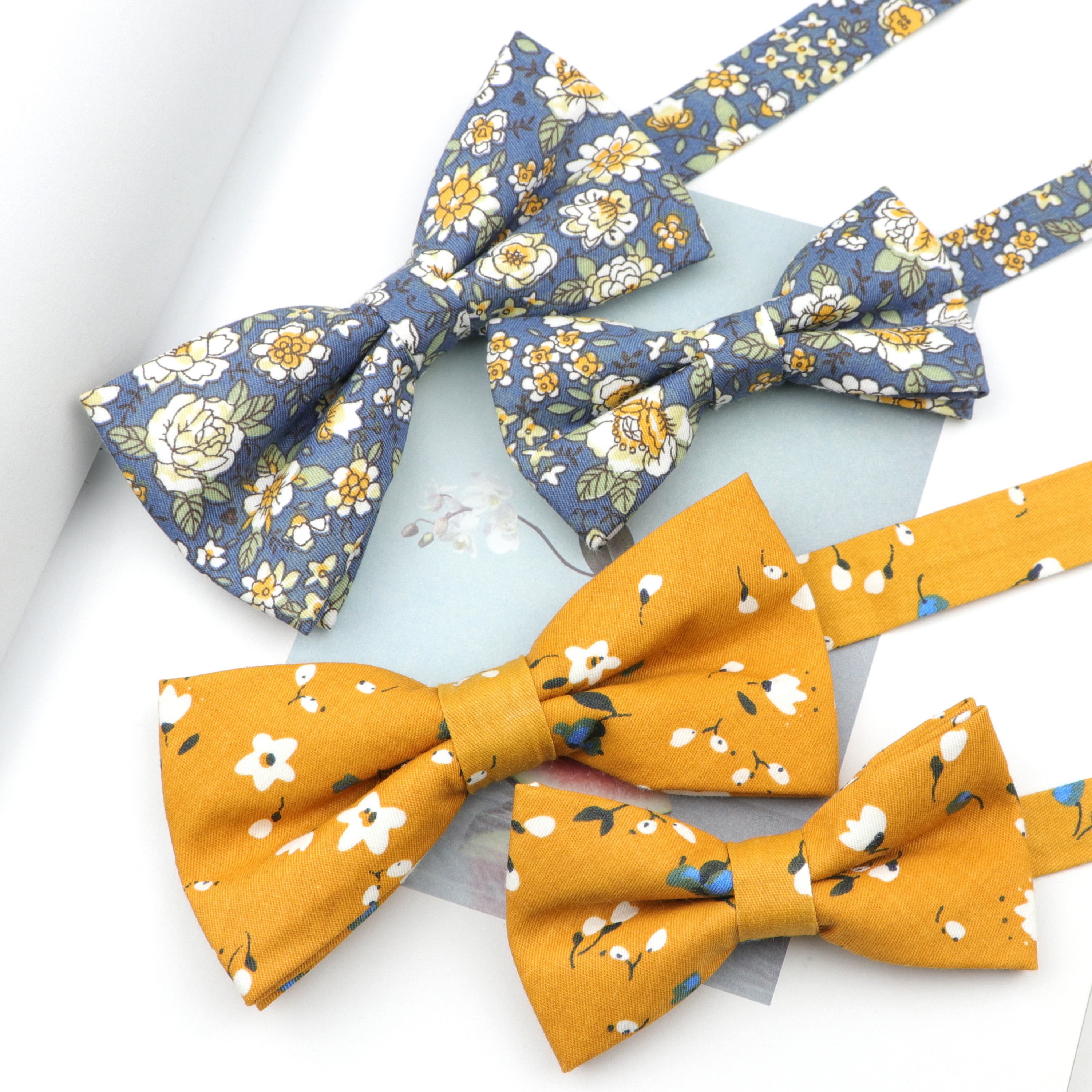 Cartoon Vintage Flower Printed Adjustable Bowtie Sets Cute Cotton Kids Adults Pet Men Floral Butterfly Wedding Party Accessory