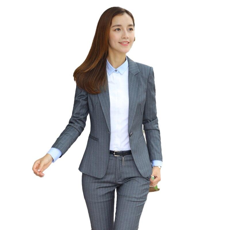 Female Elegant Formal Office Work Wear Black Grey Blazer Women Pant Suits  Ladies 2 Pieces Sets Office Uniform Designs New Styles|Pant Suits| -  AliExpress