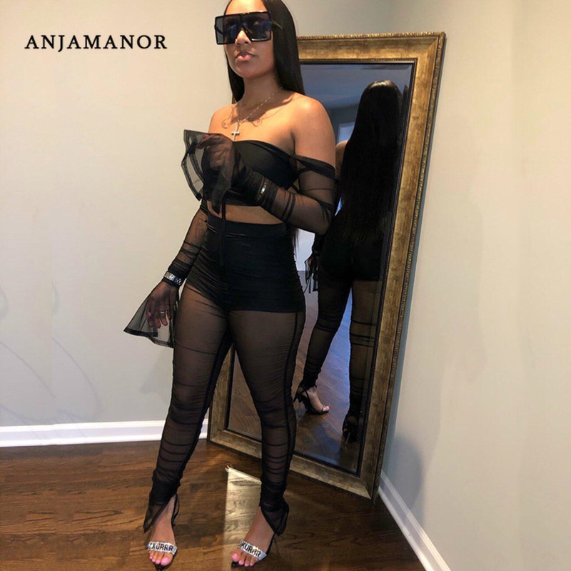 ANJAMANOR Sexy Ruched Mesh Sheer Off Shoulder Two Piece Tights Set Women Going Out Club Outifts Festival 2 Piece Twinset D13-AG4