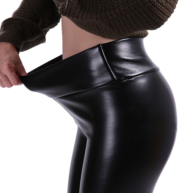 SALSPOR 5XL Plus Size Women Winter Velet Trousers Femme Black Warm Leather Nine pants Ladies Sexy High Waist Slim PU Leggins 5