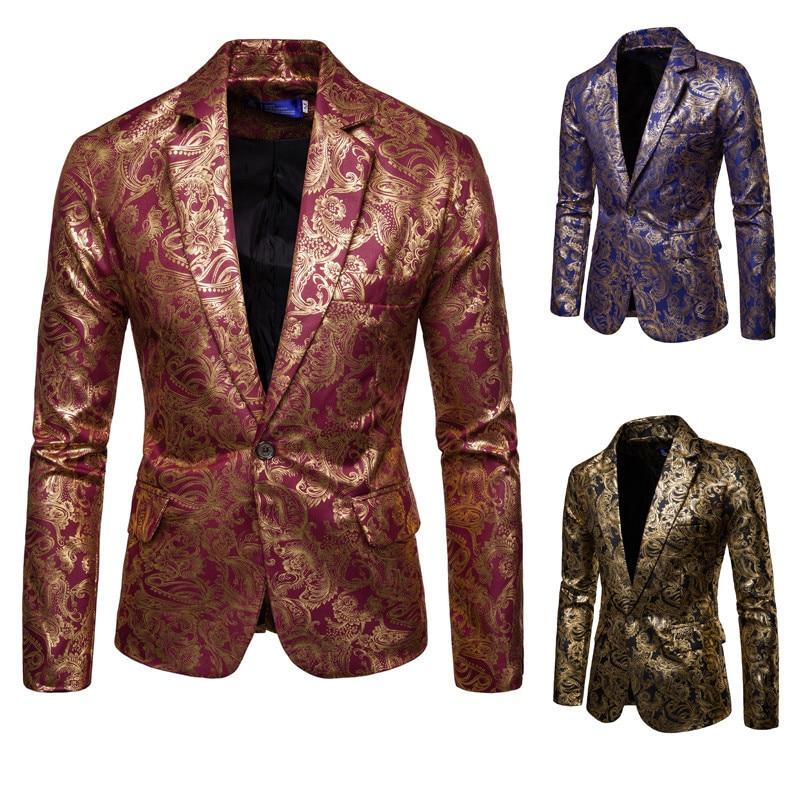 2019 Men's Suit Bright Surface Bronzing Printed Suit Best Man Formal Dress Nightclub Costume Coat