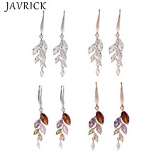 Rainbow Leaf Crystals Cubic Zirconia Hook Drop Earrings Women Fashion Jewelry