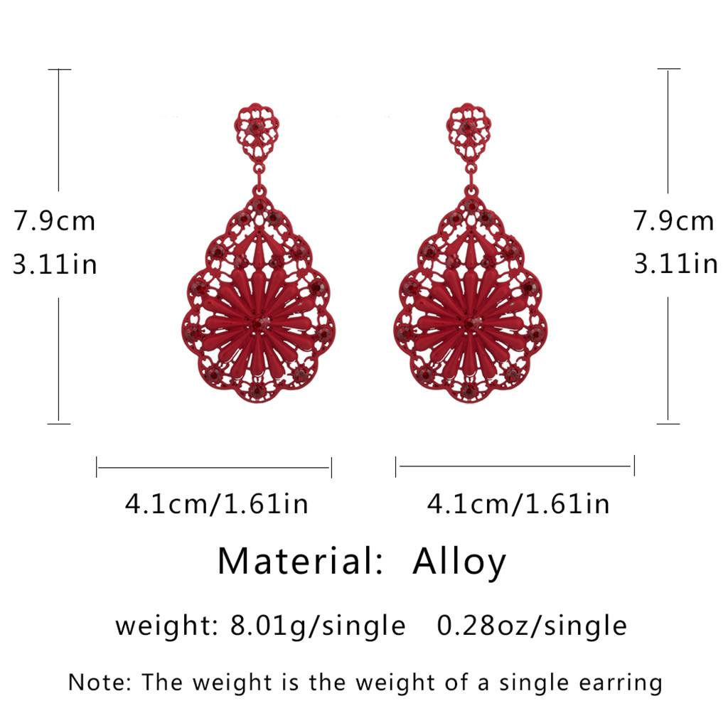 H0612862e765b4a57afa6f99574192b15I - women's vintage earrings Long Retro High Black Water Hollow Pierced Ladies red Earrings Jewelry gift for women drop shipping #5