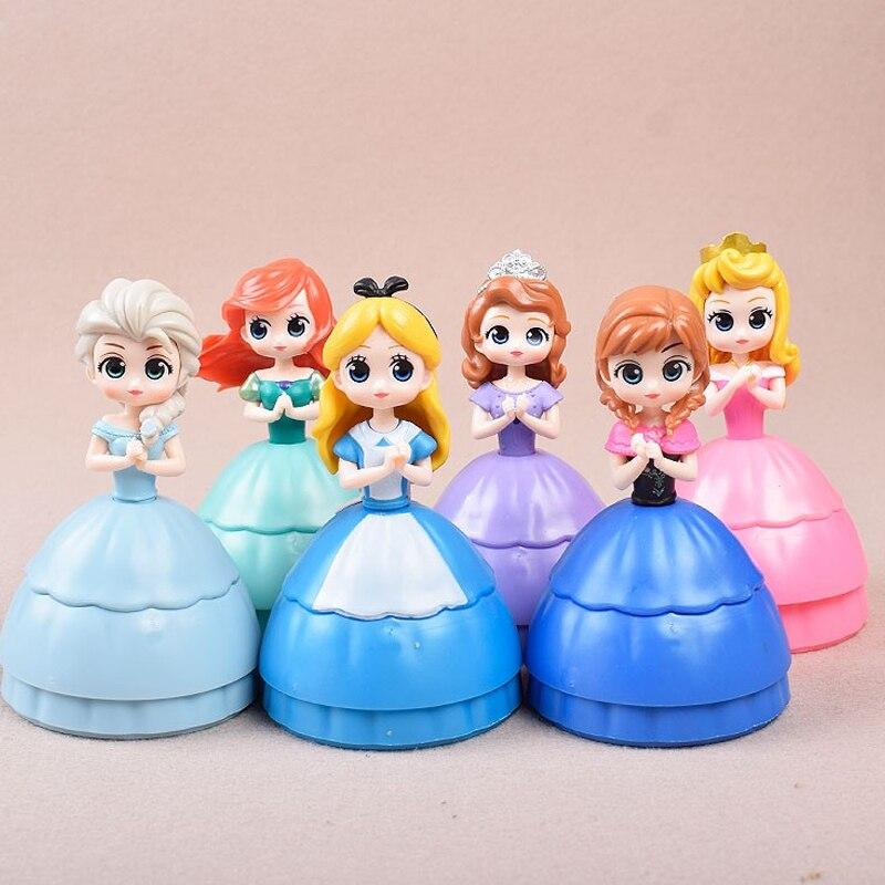 New Disney Princess Qposket Surprise Box Frozen Elsa Anna Rapunzel Belle Snow White Action Figures Pvc Anime Dolls Collection