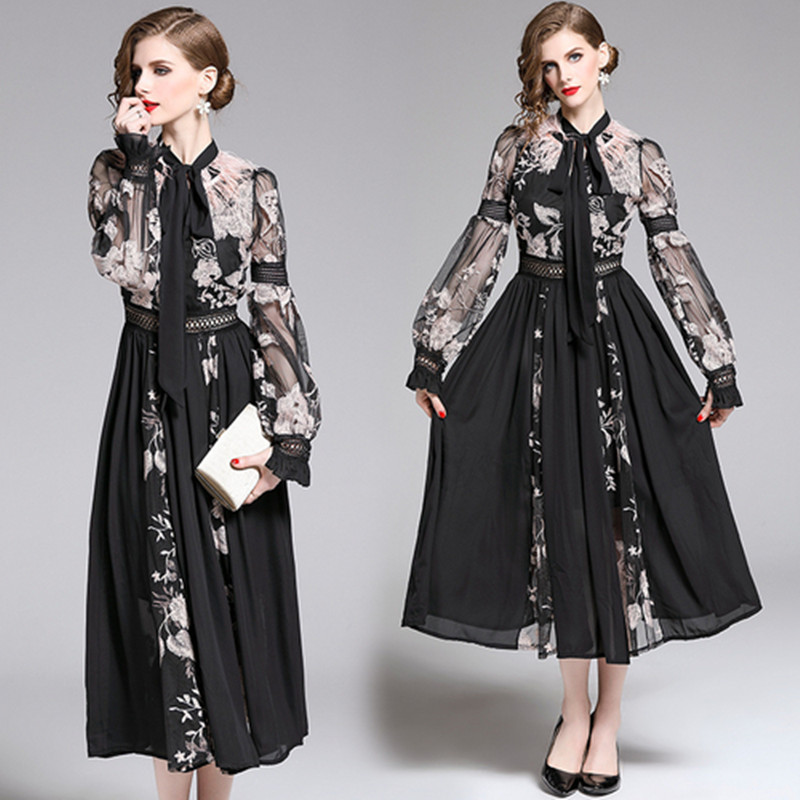 Fashion Designer Runway Women Slim Dress 2020 Fall Women Lantern Sleeve Neckline Bow Ostrich Hair Vintage Embroidery Long Dress
