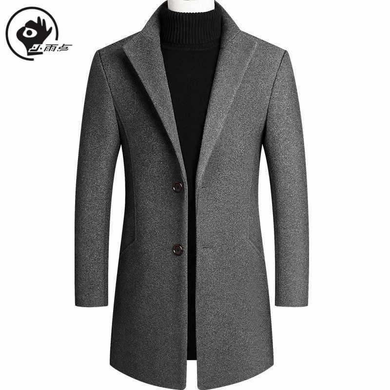 Little Regendruppel Wollen Jas Mannen Winter Wollen Jas Slim Fit Warm Jassen Solid Business Lange Mannelijke Jas Hoge Kwaliteit Mens overjas