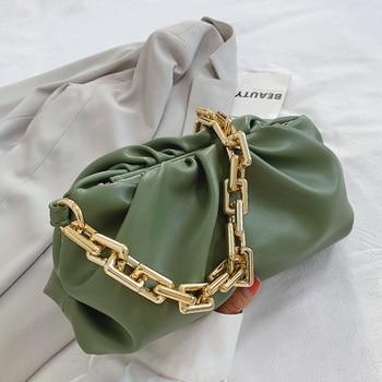 Ден клъч дебели златни вериги кнедли клип чанта чанта жени облак под мишниците чанта рамо плисе багет чанта чанти чанта