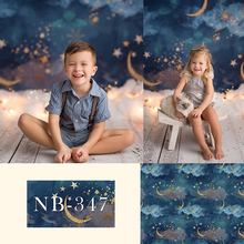 Photographie arrière plan or lune étoiles Flash nouveau né toile de fond bébé douche enfants fête danniversaire décors Photo Studio
