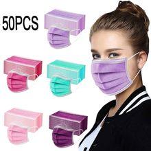 Máscara de rosto descartável dos homens adultos das mulheres 50 pçs máscara sólida 3 camadas meltblown não-tecido azul rosa verde roxo mascarillas