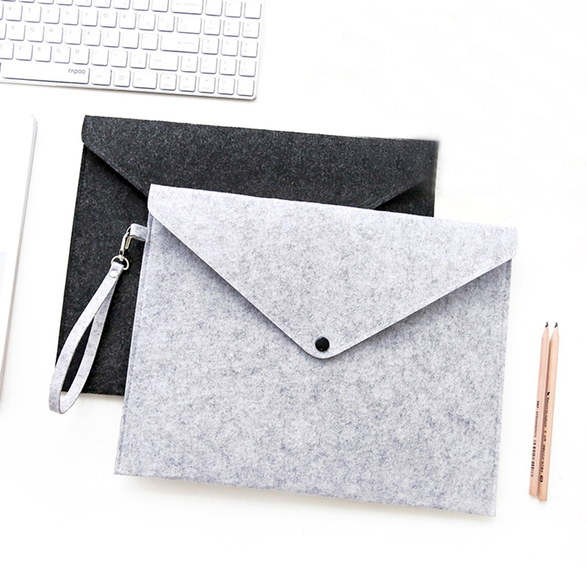 Simple Solid A4 Big Capacity Document Bag Business Briefcase File Folders Chemical Felt Filing Products Student Gifts
