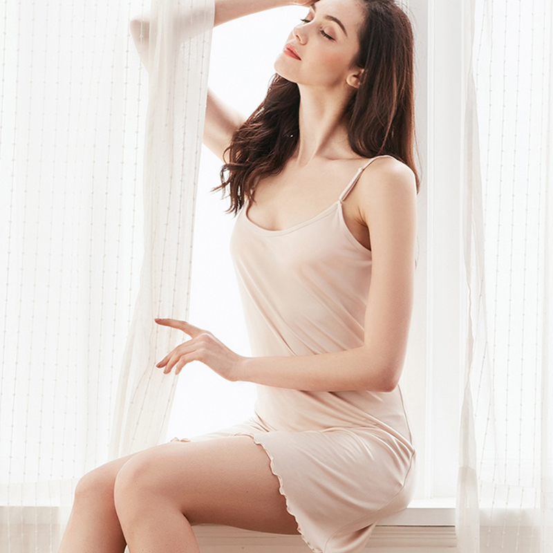 Full slips underdress Natural silk intimates sexy petticoat sleeping dress home underwear Backless femme white black pink(China)