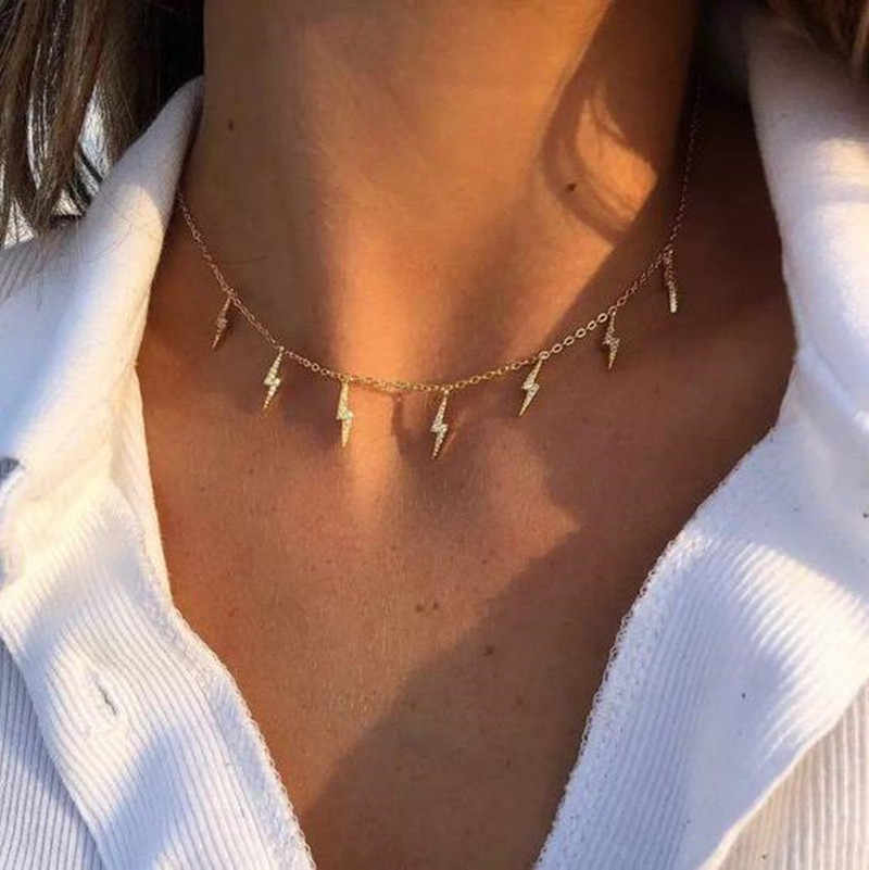 New Fashion Lightning Shape Gold Silver Color Pendant Necklace for Women Girl Jewelry Boho Classic Statement Choker Necklace