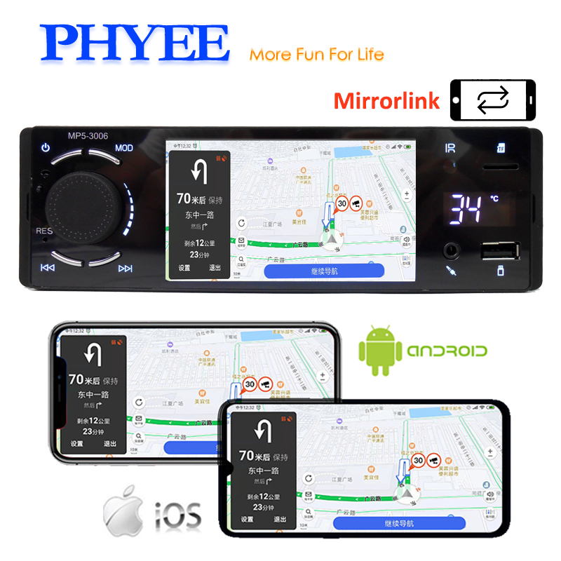 Bluetooth Car Radio 1 Din Mirror Link 4 Touch Screen MP5 Video Player USB TF Handsfree A2DP Stereo System Head Unit PHYEE 3006 image