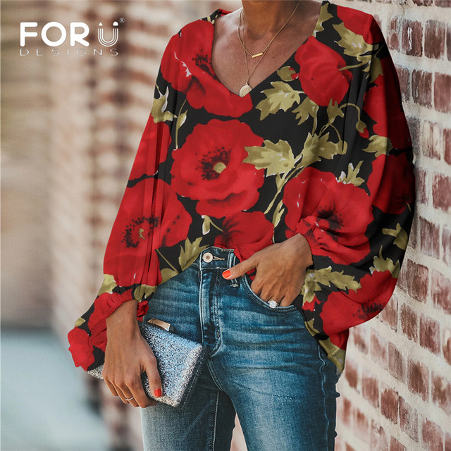 FORUDESIGNS Large Size Colorful Flower Pattern Tops and Blouses Casual Loose V-Neck Shirts Female Clothes 4