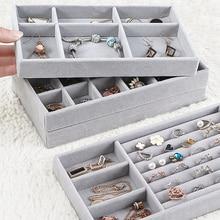 Fashion Drawer Velvet Jewelry Organizer Tray Ring Bracelet Gift Box Jewlery Storage Earring Holder Jewelry Display Case