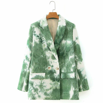 [EWQ] 2021 Spring New Tie-dye Printed Loose-fitting Casual Suit Sweet Women Jacket Fashion Trend Loose Outwear Laides Green Coat 1