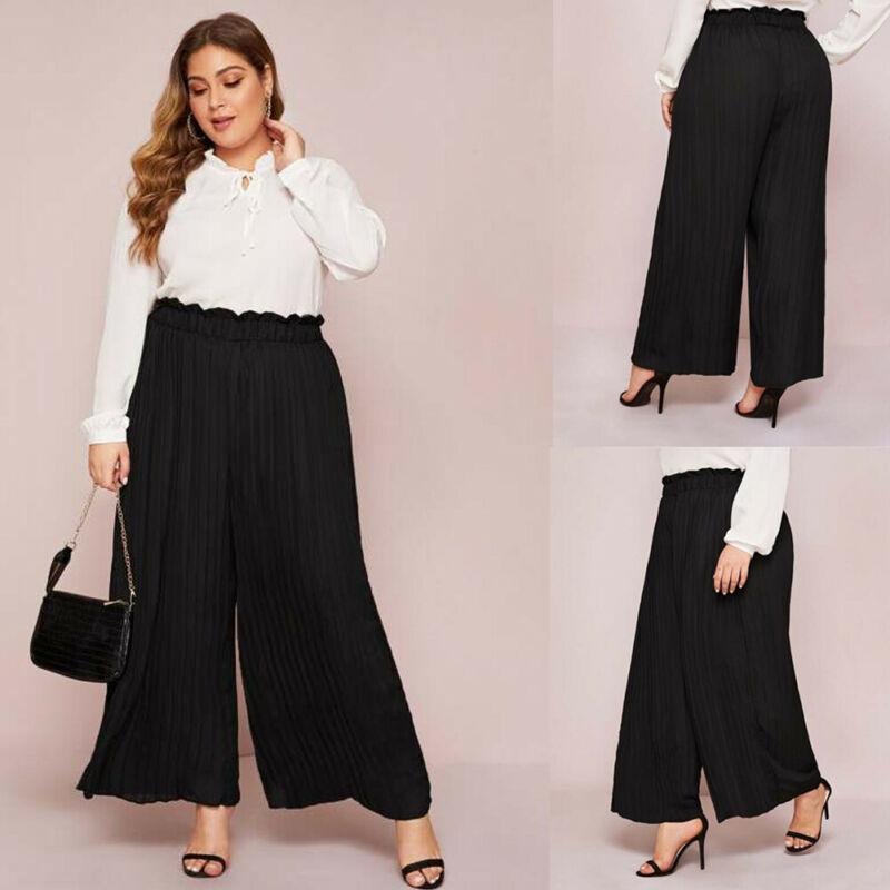 Super Large Size Plus Size Women Pants Pleated Palazzo Casual Trouser Wide Leg Elastic Waist New XL-4XL