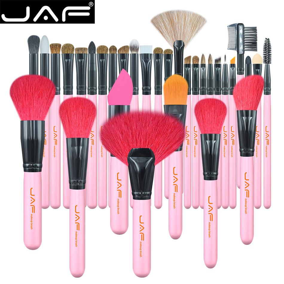 JAF 32 pièces pinceaux de maquillage de cheveux d'animaux naturels, boîte-cadeau en métal emballage maquillage ensemble de pinceaux, pinceaux de maquillage rose pâle J3219A-P