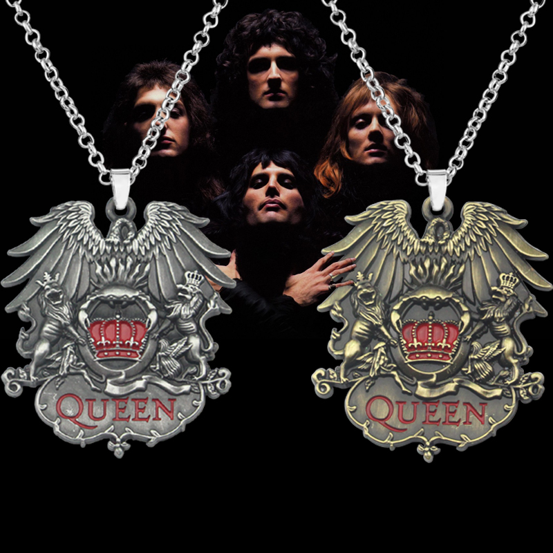 Rock Band Queen Necklace Punk Antique Eagle Lion Crown Metal Pendant Necklaces Hot Men Jewelry Christmas Gift For Best Friends image