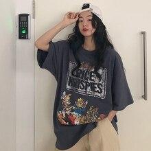 Camisetas de verano con estampado de dibujos animados de enanos Vintage para mujer Camisas informales de gran tamaño Camisetas largas con letras divertidas de talla grande de manga corta W438