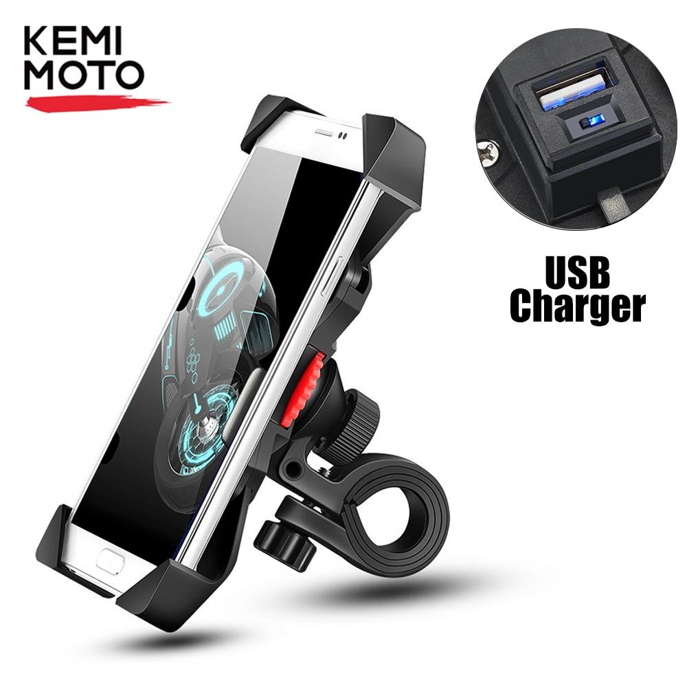 Black Cell Phone Holder USB Charger for Honda Kawasaki Harley Suzuki Victory