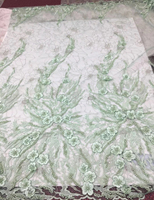 African Lace Fabric 2018 W069 High Quality French Embroidered Lace Fabric Nigerian heavy Beaded Lace Fabrics For Wedding