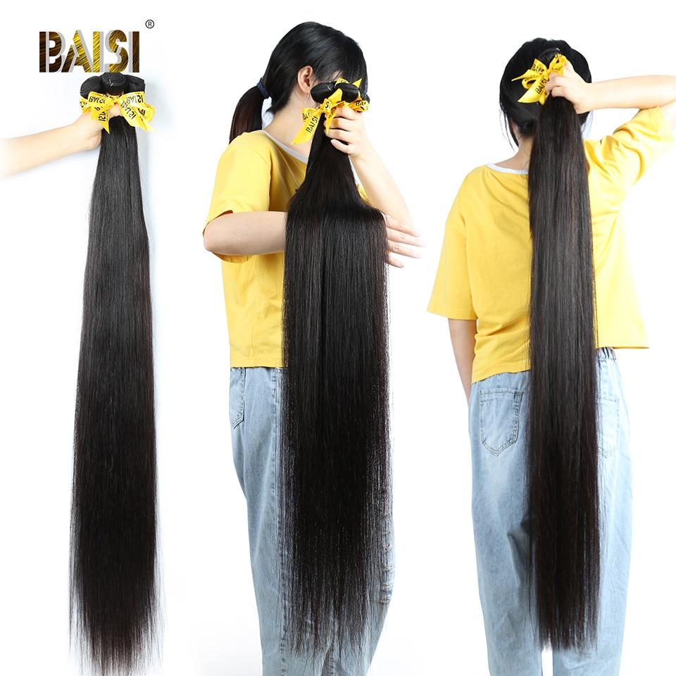 Image 3 - BAISI Hair Peruvian 38 40 42 Inch Virgin Hair Weave Hair Straight Hair Bundles Long Bundles Hair 100% Human Hair bundles-in Hair Weaves from Hair Extensions & Wigs